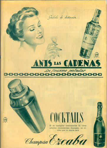 Publicidad Mediados del S.XX de Anís las Cadenas y Champán Ezcaba.