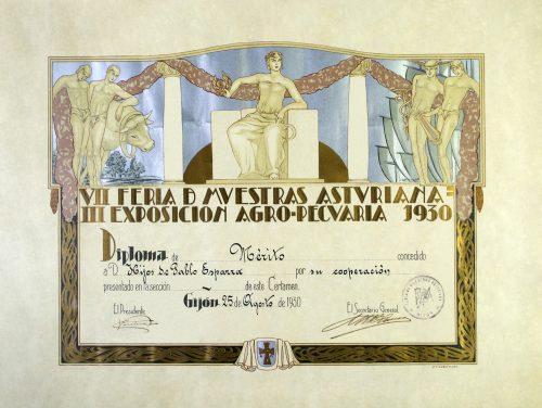 Diploma Feria de muestras de Asturias 1930.